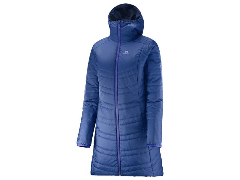 Salomon DRIFTER Long Hoodie W Mazarine blue Wisteria navy dámský  oboustranný kabát 53508e05f5